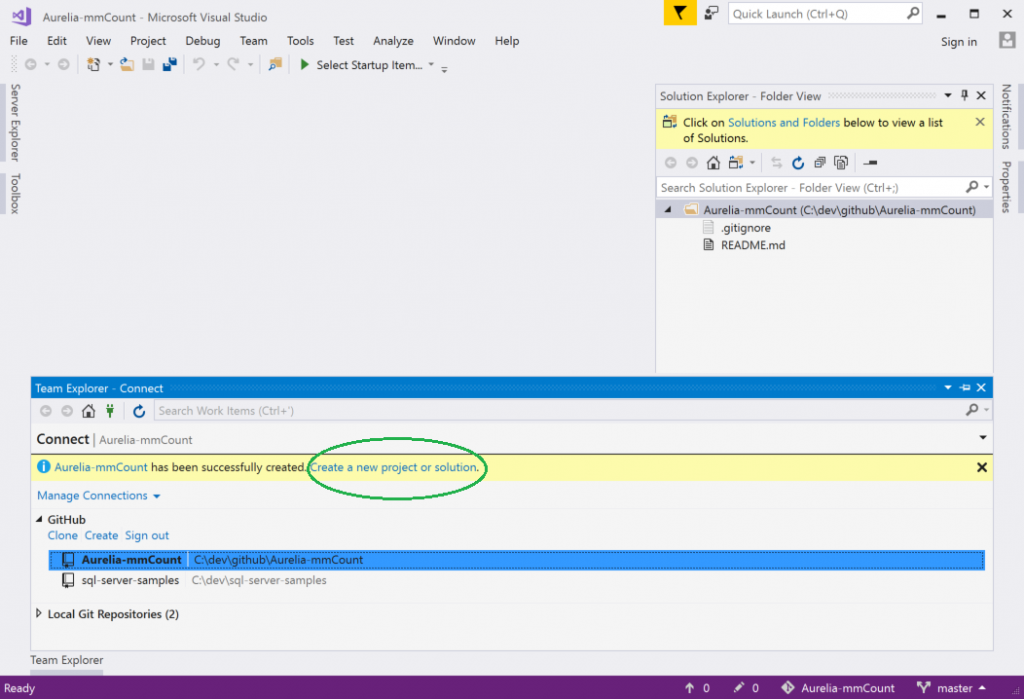 Creating a git repo with GitHub for Visual Studio gives you the option to create a project in that repo.